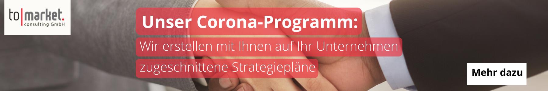 Das Corona-Programm des Beratungshauses tomarket bietet Unterstützung beim Marketing und der Entwicklung einer Unternehmensstrategie  Welche Sonderprogramme bietet die KfW-Bank während der Krise? Corona Programm